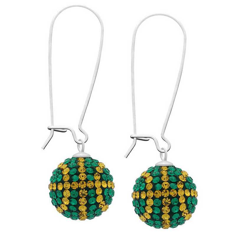 QQ-E-BB-EME-TOP: Game Time Bling Basketball Earrings - EME/Topaz
