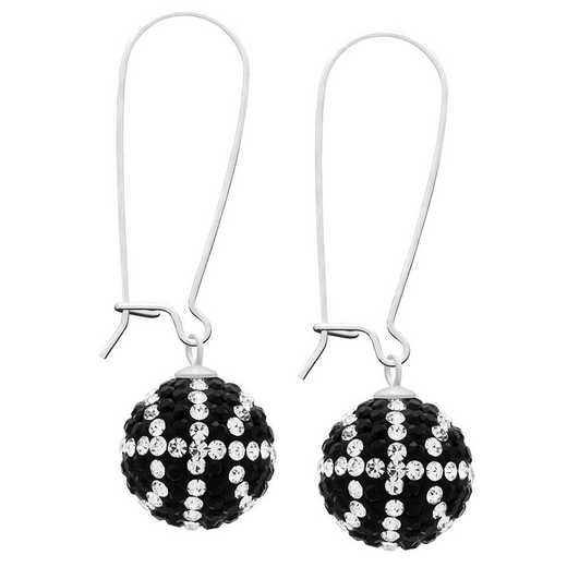 QQ-E-BB-JET-CRY: Game Time Bling Basketball Earrings - Jet/CRY