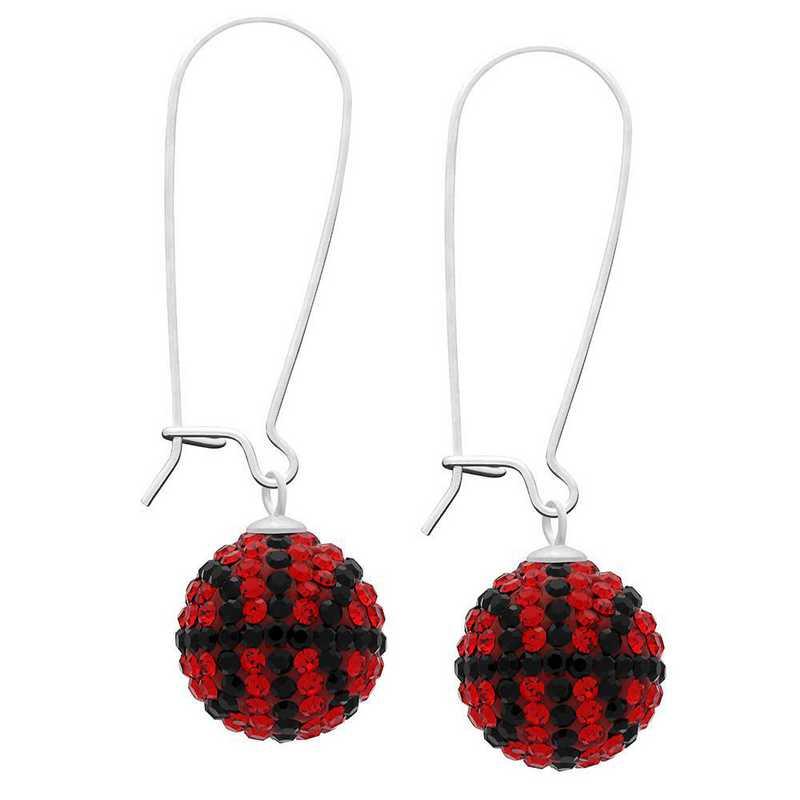 QQ-E-BB-LTSIA-JET: Game Time Bling Basketball Earrings - Lt Siam/Jet