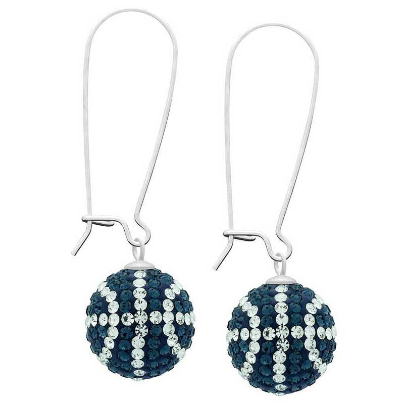 QQ-E-BB-MON-CRY: Game Time Bling Basketball Earrings - MON/CRY