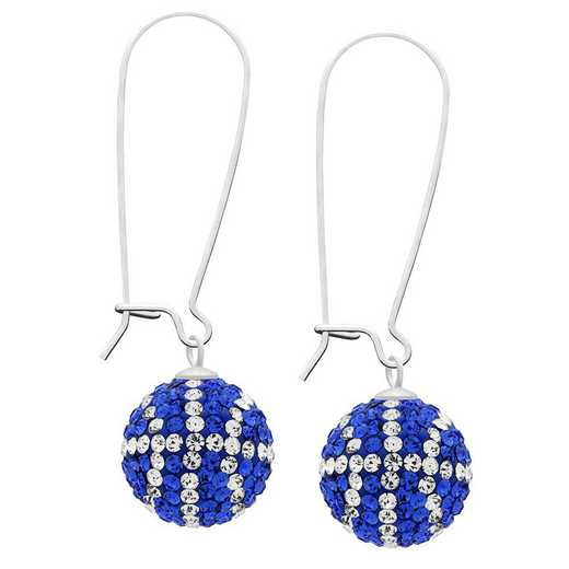 QQ-E-BB-SAP-CRY: Game Time Bling Basketball Earrings - Sapphire/CRY