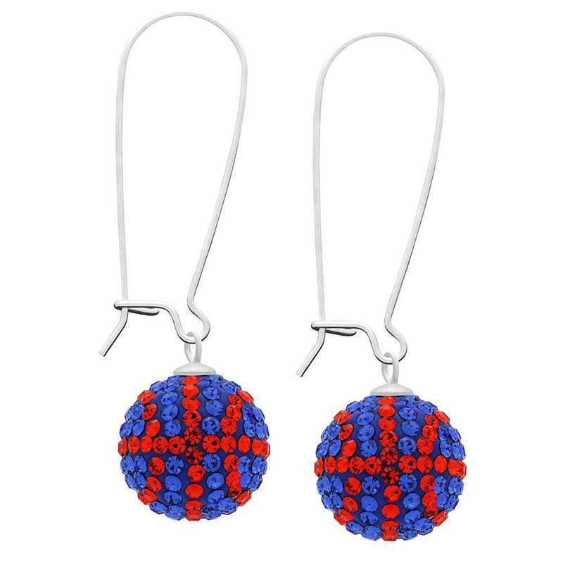 QQ-E-BB-SAP-HYA: Game Time Bling Basketball Earrings - Sapphire/HYA