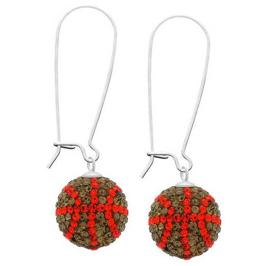 QQ-E-BB-SMTOP-HYA: Game Time Bling Basketball Earrings - SMTOP/HYA