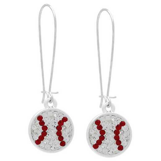 QQ-E-DANG-BASEBALL-CRY-LTSIA: Game Time Bling Baseball Dangle Earrings - CRY/Lt Siam
