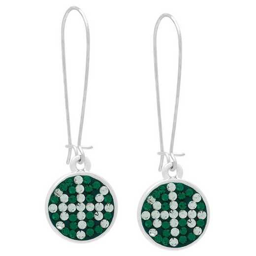 QQ-E-DANG-BB-EME-CRY: Game Time Bling Basketball Dangle Earrings-Pair - EME/CRY
