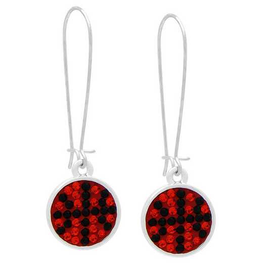 QQ-E-DANG-BB-HYA-JET: Game Time Bling Basketball Dangle Earrings-Pair - HYA/Jet