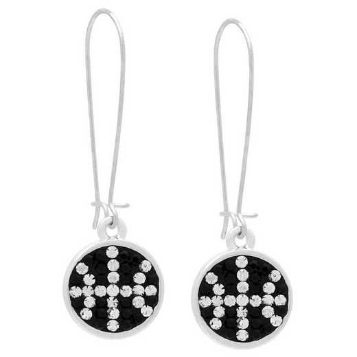 QQ-E-DANG-BB-JET-CRY: Game Time Bling Basketball Dangle Earrings-Pair - Jet/CRY