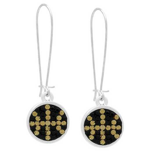 QQ-E-DANG-BB-JET-LCT: Game Time Bling Basketball Dangle Earrings-Pair - Jet/Lt CT