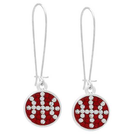 QQ-E-DANG-BB-LTSIA-CRY: Game Time Bling Basketball Dangle Earrings-Pair Lt Siam/CRY