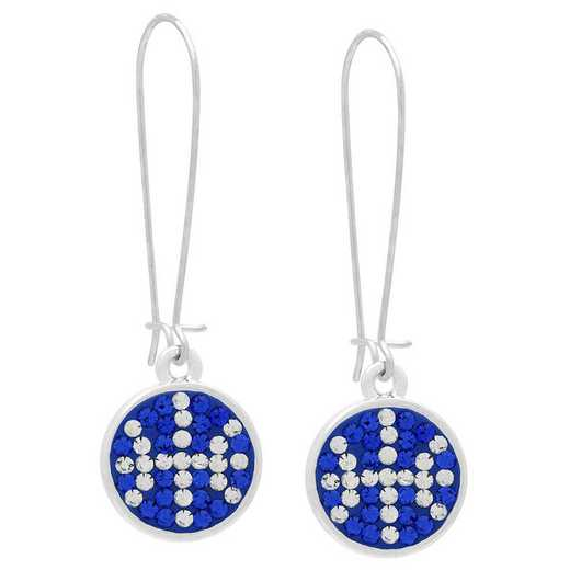 QQ-E-DANG-BB-SAP-CRY: Game Time Bling Basketball Dangle Earrings-Pr - Sapphire/CRY