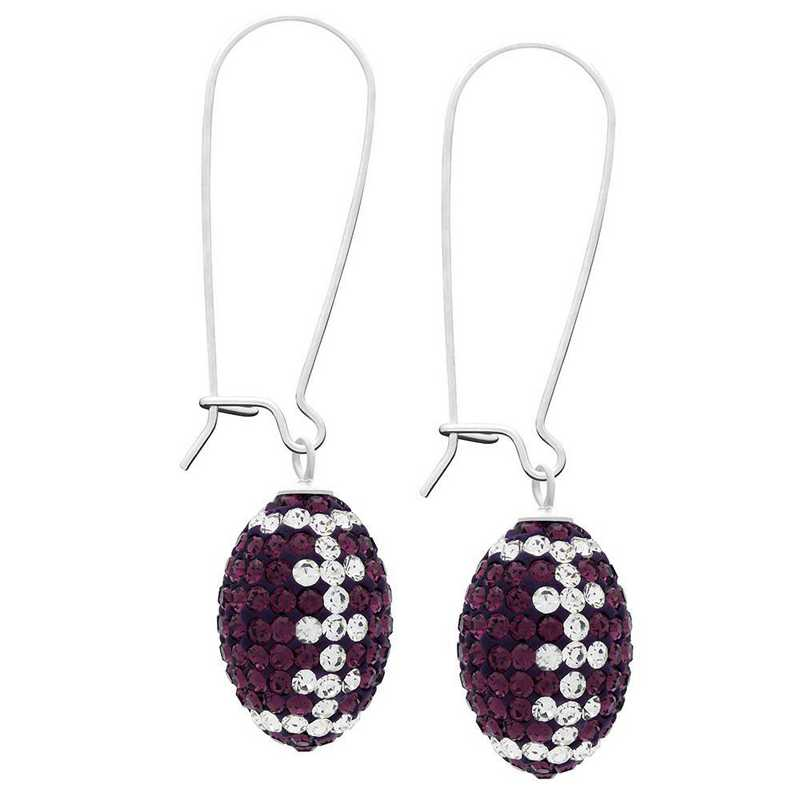 QQ-E-FB-AME-CRY: Game Time Bling Football Earrings -AME/CRY