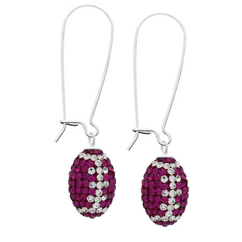 QQ-E-FB-FUC-CRY: Game Time Bling Football Earrings-Pairs - Fuchsia/CRY
