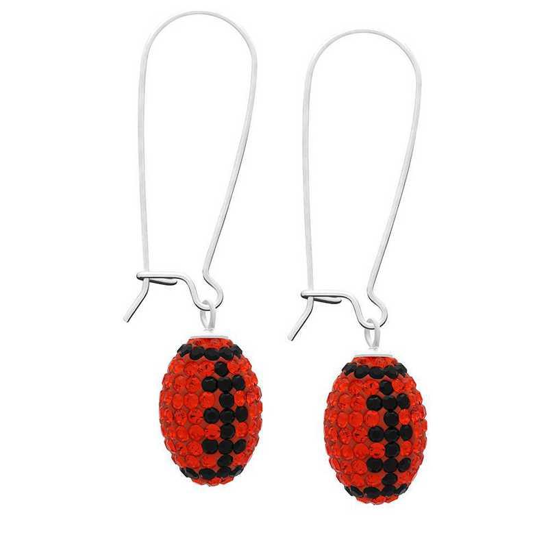 QQ-E-FB-HYA-JET: Game Time Bling Football Earrings - HYA/Jet