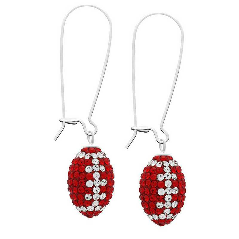 QQ-E-FB-LTSIA-CRY: Game Time Bling Football Earrings - Lt Siam/CRY