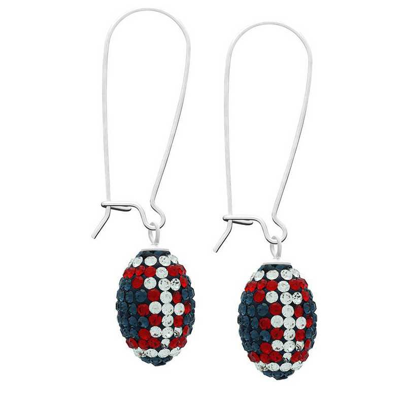 QQ-E-FB-MON-CRY-LTSIA: Game Time Bling Football Earrings - MON/CRY/Lt Siam