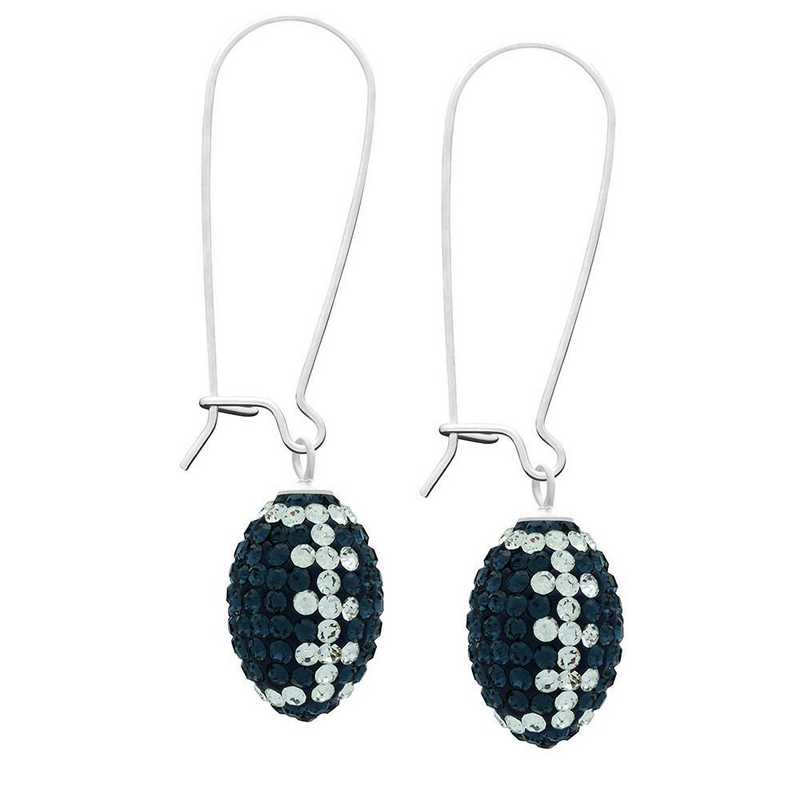 QQ-E-FB-MON-CRY: Game Time Bling Football Earrings - MON/CRY