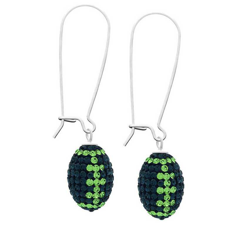 QQ-E-FB-MON-PER: Game Time Bling Football Earrings - MON/Peridot