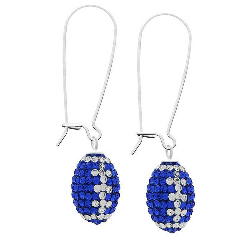QQ-E-FB-SAP-CRY: Game Time Bling Football Earrings - Sapphire/CRY