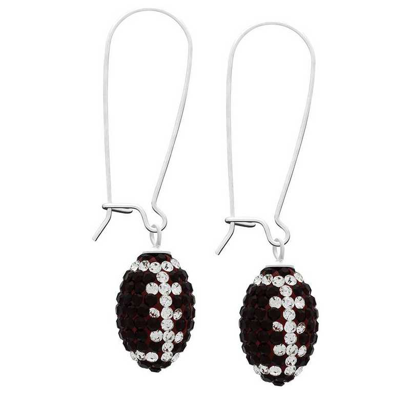 QQ-E-FB-SIA-CRY: Game Time Bling Football Earrings - Siam/CRY