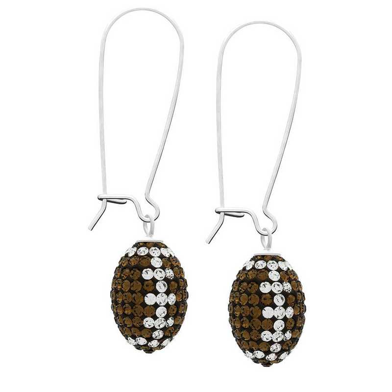 QQ-E-FB-SMTOP-CRY: Game Time Bling Football Earrings - Smoky Topaz/CRY