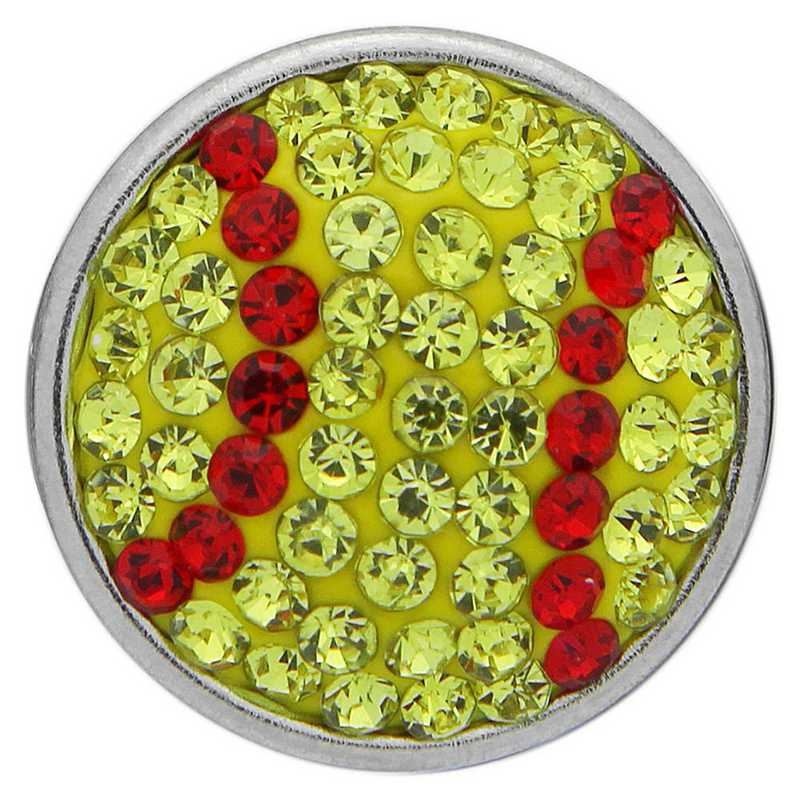 QQ-FSP-SOFTBALL-CIT-LTSIA: Softball Fancy Snap Pendant - Citrine/Lt Siam (Citrine/Red)