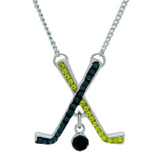 "QQ-HOC-N-MON-CIT: Game Time Bling Ice Hockey Necklace18"" - MON/Citrine"