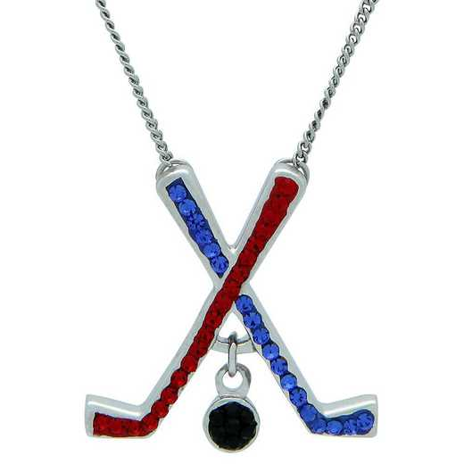 "QQ-HOC-N-SAP-LTSIA: Game Time Bling Ice Hockey Necklace18"" - Sapphire/Lt Siam"
