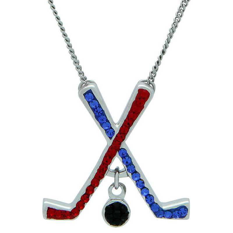 QQ-HOC-N-SAP-LTSIA: Game Time Bling Ice Hockey Necklace18