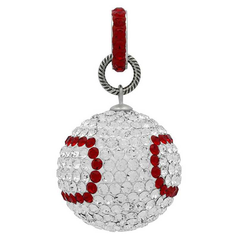 QQ-L-BASEBALL-RING-CRY-LTSIA: Game Time Bling 20mm Baseball w/ Red Ring - CRY/Lt Siam