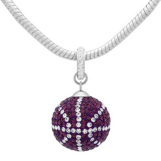 QQ-L-BB-N-AME-CRY: Game Time Bling Lrg Basketball Necklace -Amthyst/CRY