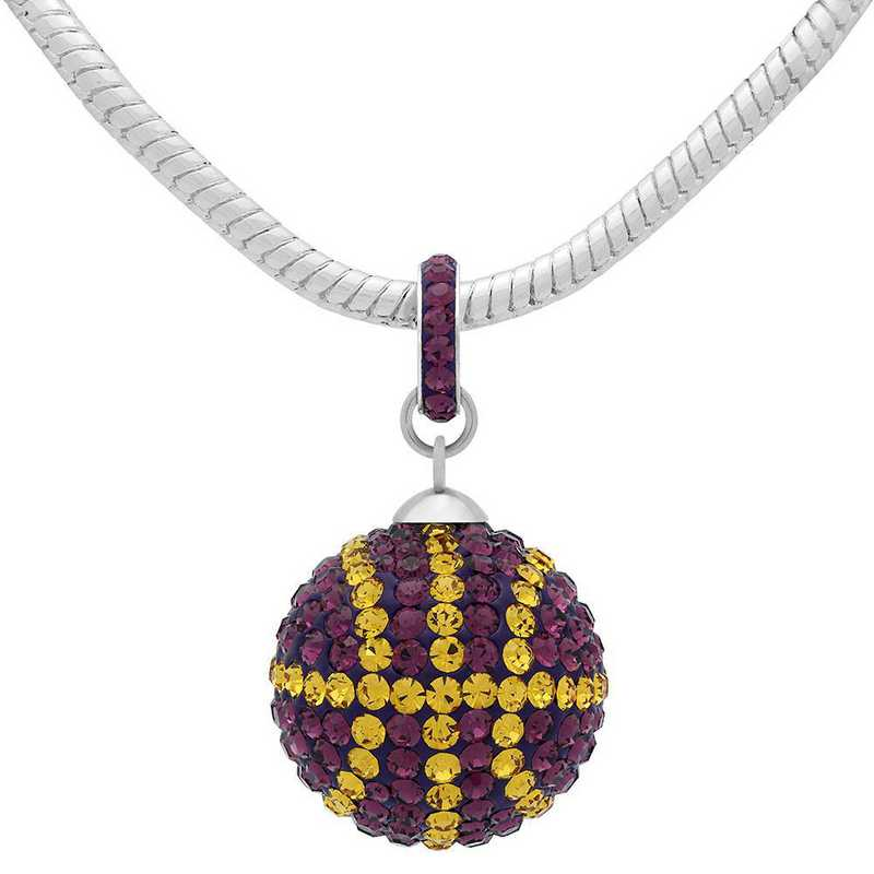 QQ-L-BB-N-AME-TOP: Game Time Bling Lrg Basketball Necklace -AME/Topaz