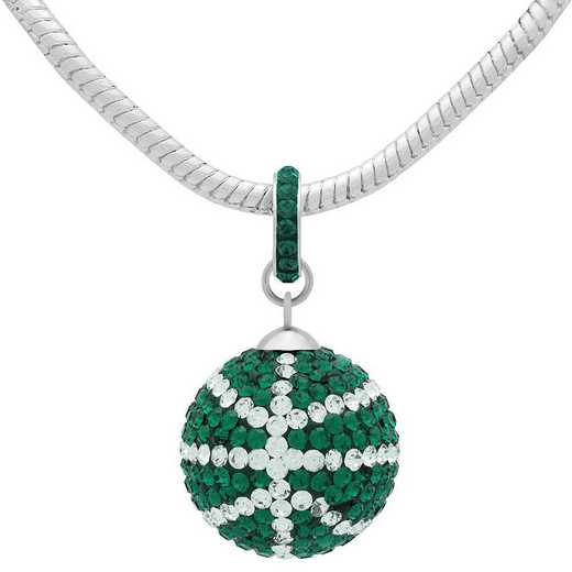 QQ-L-BB-N-EME-CRY: Game Time Bling Lrg Basketball Necklace - EME/CRY