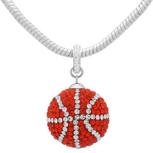 QQ-L-BB-N-HYA-CRY: Game Time Bling Lrg Basketball Necklace - HYA/CRY