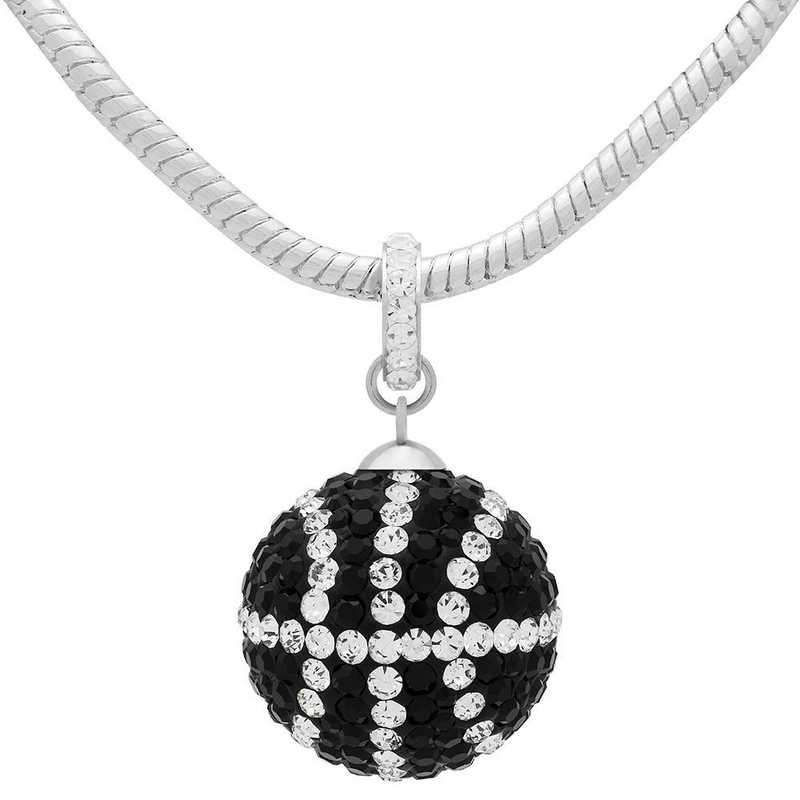 QQ-L-BB-N-JET-CRY: Game Time Bling Lrg Basketball Necklace - Jet/CRY