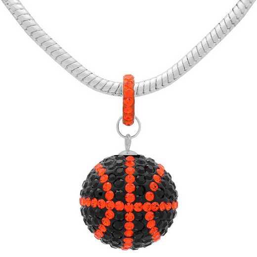 QQ-L-BB-N-JET-HYA: Game Time Bling Lrg Basketball Necklace - Jet/HYA