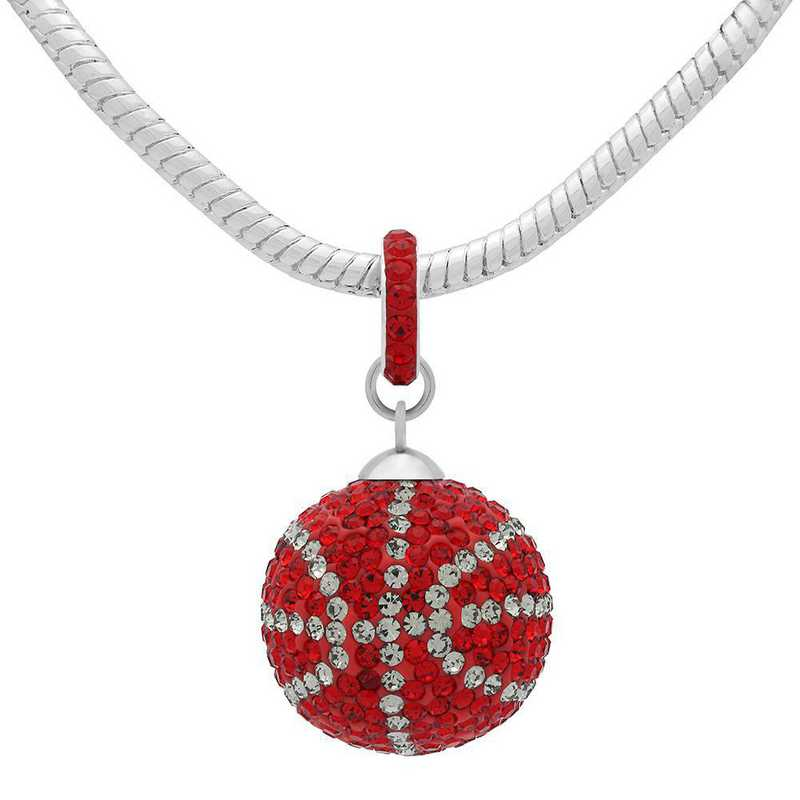 QQ-L-BB-N-LTSIA-BLKDIA: Game Time Bling Lrg Basketball Necklace -Lt Siam/BLK DIA