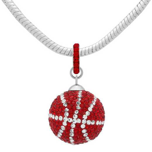 QQ-L-BB-N-LTSIA-CRY: Game Time Bling Lrg Basketball Necklace -Lt Siam/CRY