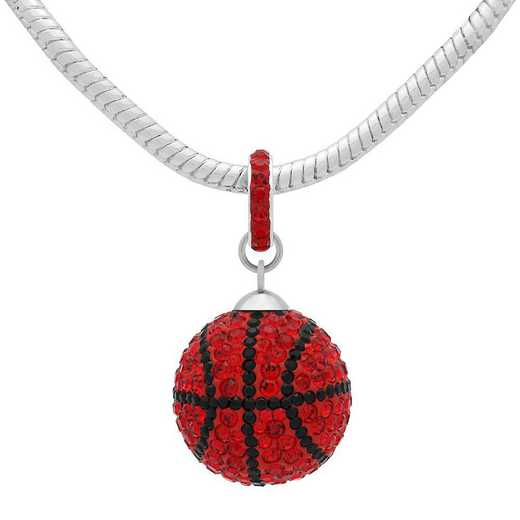 QQ-L-BB-N-LTSIA-JET: Game Time Bling Lrg Basketball Necklace -Lt Siam/Jet