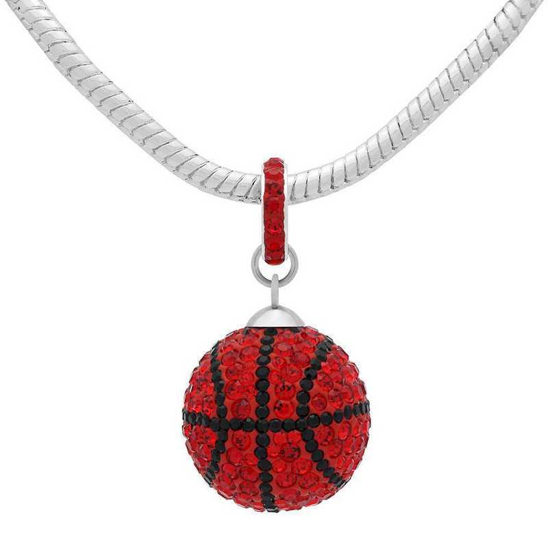 QQ-L-BB-N-LTSIA-JET: Game Time Bling Lrg Basketball Necklace -Lt Siam/Jet