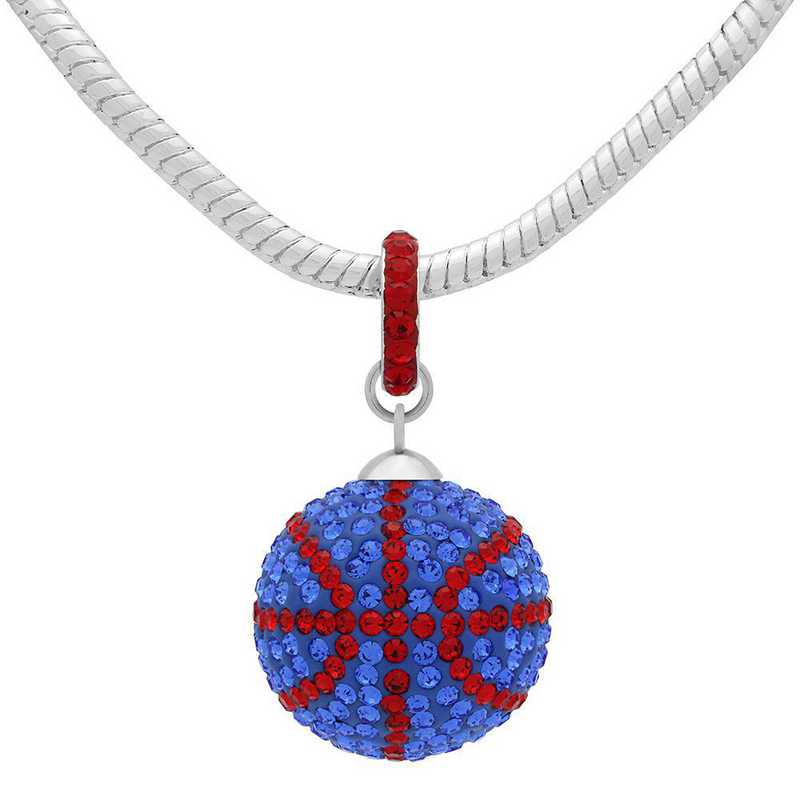 QQ-L-BB-N-SAP-LTSIA: Game Time Bling Lrg Basketball Necklace - Sapphire/Lt Siam