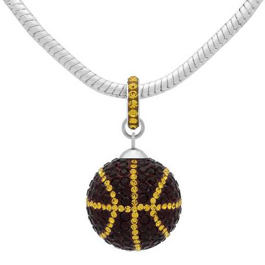 QQ-L-BB-N-SIA-TOP: Game Time Bling Lrg Basketball Necklace - Siam/Topaz