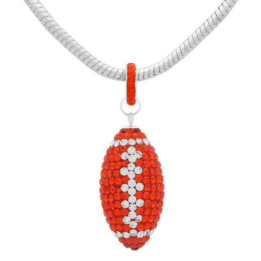 "QQ-L-FB-N-HYA-CRY: Game Time Bling Lrg Football Ncklce18"" - HYA/CRY"