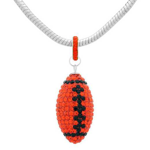 "QQ-L-FB-N-HYA-JET: Game Time Bling Lrg Football Ncklce18"" - HYA/Jet"