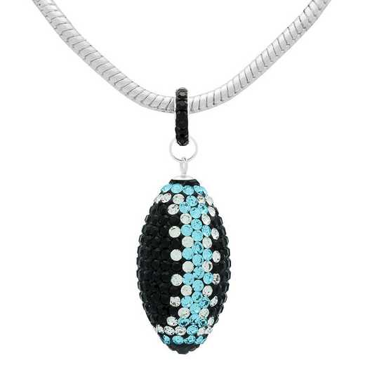 "QQ-L-FB-N-JET-CRY-AQU: Game Time Bling Lrg Football Ncklce18"" - Jet/CRY/Aquamarine"