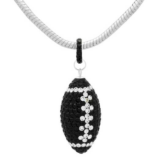 "QQ-L-FB-N-JET-CRY: Game Time Bling Lrg Football Ncklce18"" - Jet/CRY"