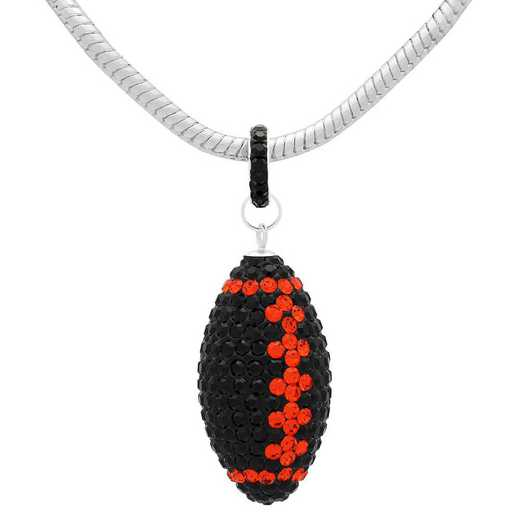 "QQ-L-FB-N-JET-HYA: Game Time Bling Lrg Football Ncklce18"" - Jet/HYA"