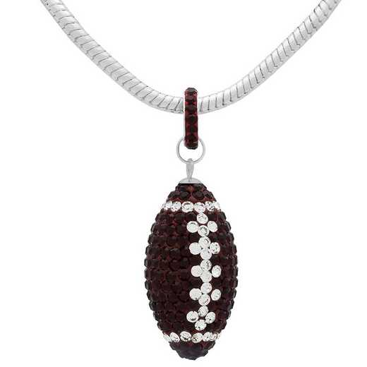 "QQ-L-FB-N-SIA-CRY: Game Time Bling Lrg Football Ncklce18"" - Siam/CRY"