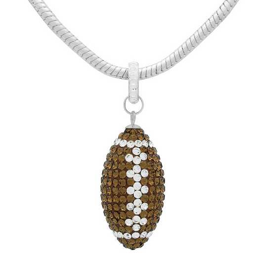 "QQ-L-FB-N-SMTOP-CRY: Game Time Bling Lrg Football Ncklce18"" - Smoky Topaz/CRY"