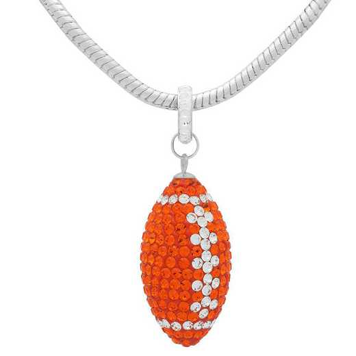 "QQ-L-FB-N-SUN-CRY: Game Time Bling Lrg Football Ncklce18"" - Sun/CRY"