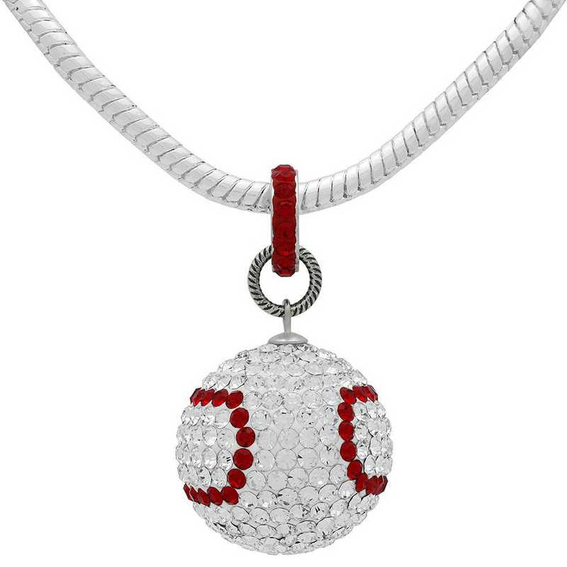QQ-L-N-BASEBALL-CRY-LTSIA: Game Time Bling Large Baseball Neck-SnakeChainNeckCRY/LtSiam